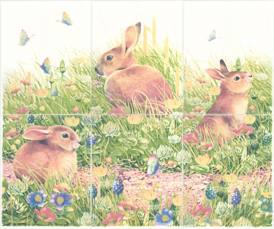 กระเบื้อง8x10 in. กระต่ายป่า 3P/6P